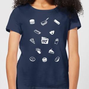 Does It Fry Pattern Women's T-Shirt - Navy