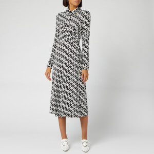 Diane von Furstenberg Women's Sana Midi Dress - Empire Houndstooth Ivory