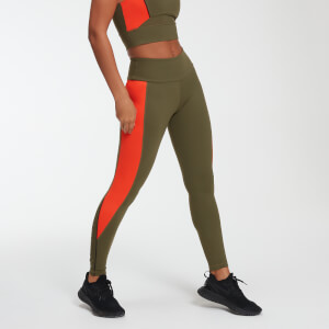 Power Leggings - Grön/Orange