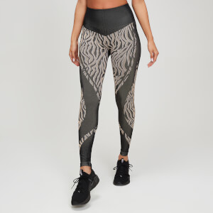 Animal Print Seamless Leggings - Black/Praline