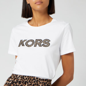 MICHAEL MICHAEL KORS Women's Leopard Logo T-Shirt - White
