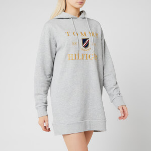 Tommy Hilfiger Women's Kristal Hooded Terry Dress Long Sleeve - Light Grey Heather