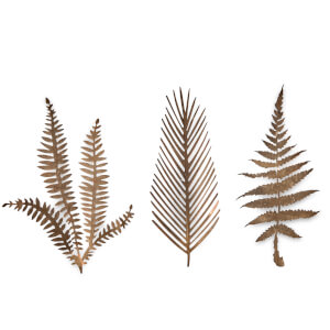 Nkuku Kiko Brass Foliage Artwork - Small - Matt Brass (Set of 3)