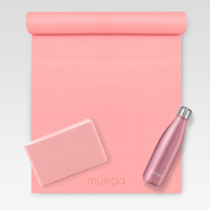 Dusty Pink Yoga Kit (Includes Mat, Brick and Bottle)