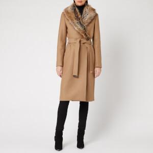 Ted Baker Women's Corinna Faux Fur Collar Wrap Coat - Tan