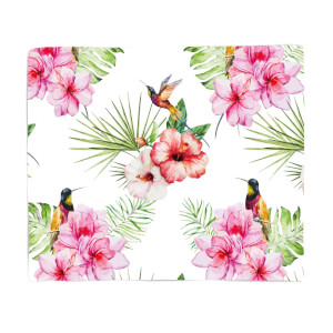 Floral Bird Print Fleece Blanket