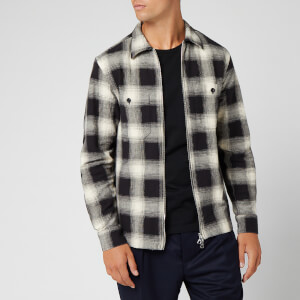 Officine Generale Men's Barry Zip Up Japanese Check Overshirt - Black/White