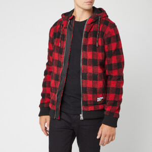 Superdry Men's Core Sherpa Zip Hoody - Red Check