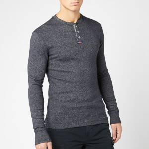 Superdry Men's Heritage Long Sleeve Grandad Top - Volcanic Black Feeder