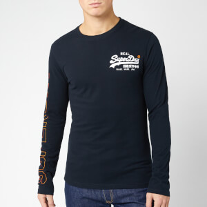 Superdry Men's Vintage Logo Linear Long Sleeve T-Shirt - Eclipse Navy