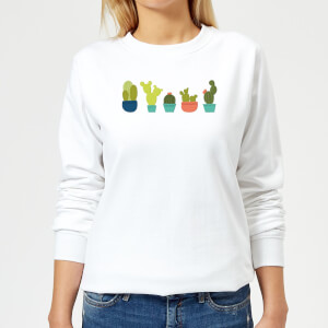 Cacti In A Row Women's Sweatshirt - White