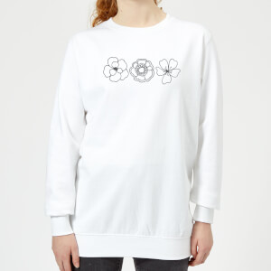Hand Drawn Flowers Women's Sweatshirt - White