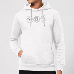 Hand Drawn Flowers Hoodie - White