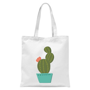 Single Potted Cactus Tote Bag - White