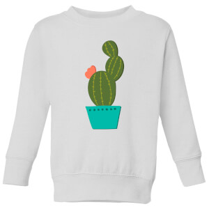 Single Potted Cactus Kids' Sweatshirt - White