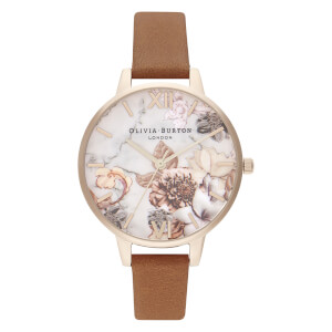 Olivia Burton Women's Marble Floral Watch - Honey Tan/Rose Gold