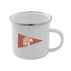 Welcome To California Enamel Mug – White