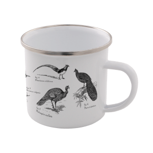 Birds Enamel Mug – White