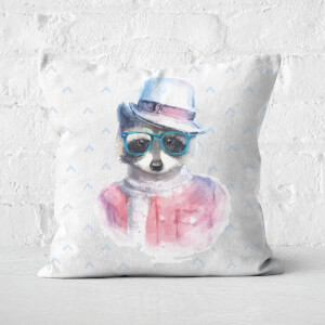 Hipster Raccoon Square Cushion