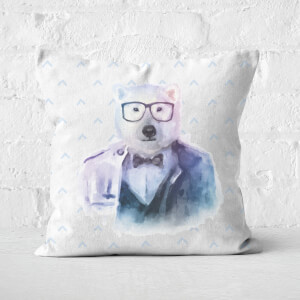Hipster Polar Bear Square Cushion