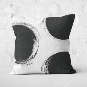 Large Circles Paintbrush Stroke Square Cushion