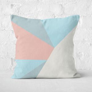 Light Blue Geometric Shapes Square Cushion