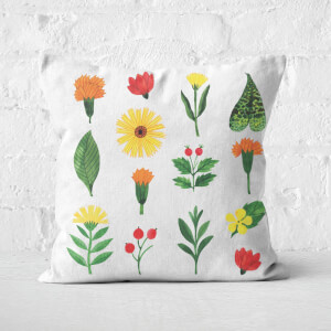 Light Botanical Flowers Square Cushion