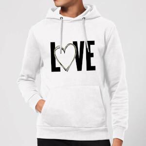 Love Heart Hoodie - White