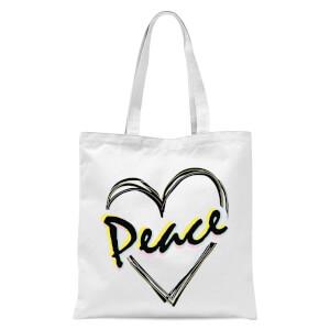 Peace Heart Tote Bag - White