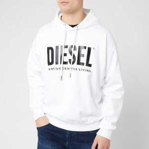 Diesel Men's Division Diesel Logo Hoodie - White