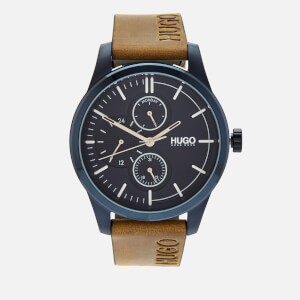 HUGO Men's Discover Leather Strap Watch - Rou Blue