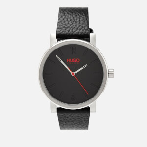 HUGO Men's Rase Leather Strap Watch - Black
