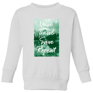 Work Travel Save Repeat Forest Photo Kids' Sweatshirt - White