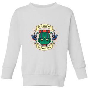 Vintage Old School Backpacker Kids' Sweatshirt - White