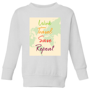 Work Travel Save Repeat Map Background Kids' Sweatshirt - White