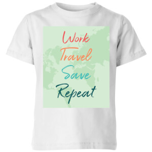 Work Travel Save Repeat Background Kids' T-Shirt - White