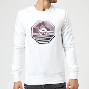 Octagon Mountain Photo Graphic Sweatshirt - White