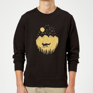 Moonlight Fox Adventure Sweatshirt - Black