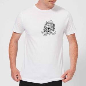 Explorer Skull Pocket Print Men's T-Shirt - White