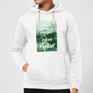 Work Travel Save Repeat Forest Photo Hoodie - White