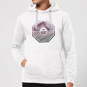 Octagon Mountain Photo Graphic Hoodie - White