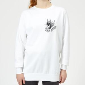 Swallow Free Spirit Pocket Print Women's Sweatshirt - White