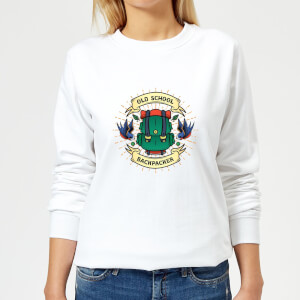 Vintage Old School Backpacker Women's Sweatshirt - White