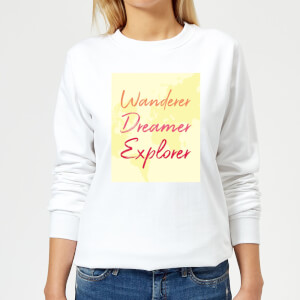 Wander Dreamer Explorer Background Women's Sweatshirt - White