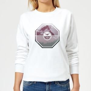 Octagon Mountain Photo Graphic Women's Sweatshirt - White