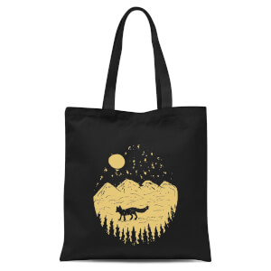 Moonlight Fox Adventure Tote Bag - Black