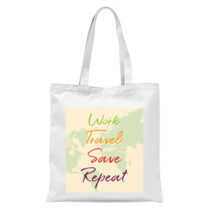 Work Travel Save Repeat Map Background Tote Bag - White