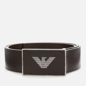 Emporio Armani Men's Solid Square Buckle Belt - Dark Brown