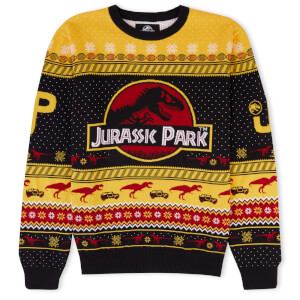 Zavvi Exclusive Jurassic Park Festive Knitted Jumper - Yellow from I Want One Of Those