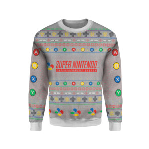 Zavvi Exclusive Nintendo SNES Xmas Knitted Jumper - Grey